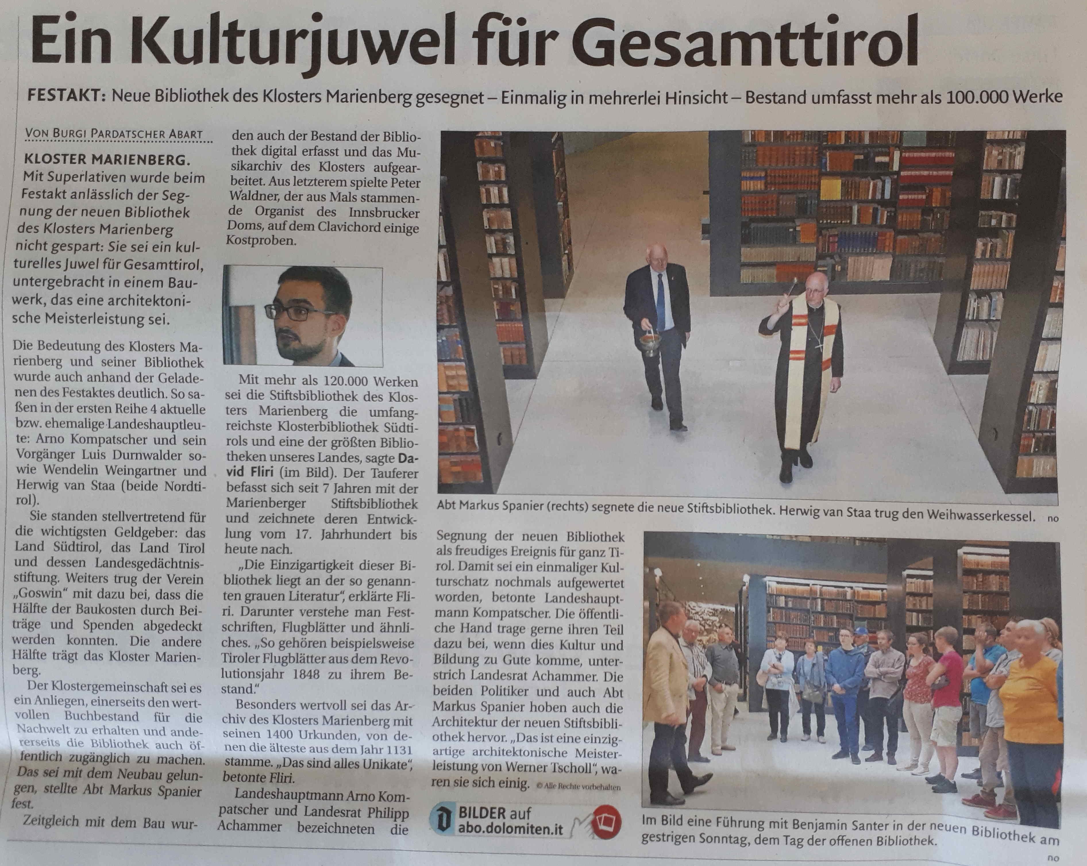 Einweihung der Kloster Bibliothek Marienberg in Mals